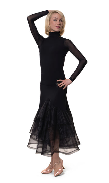 rs atelier black ballroom dance skirt with organza from dancewear for you australia