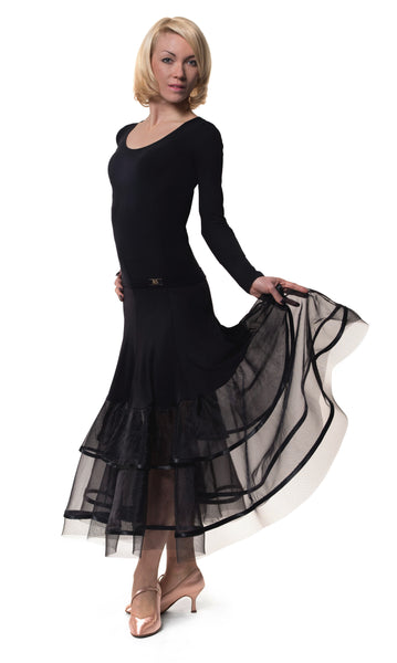 rs atelier black ballroom skirt with sheer mesh panels from dancewear for you australia