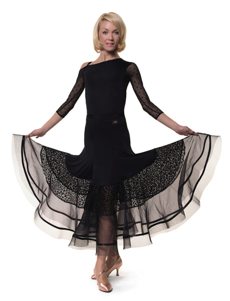 rs atelier black ballroom skirt with animal print and sheer mesh panels from dancewear for you australia