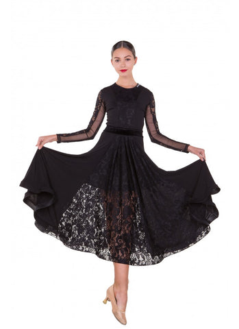 Dance Me Ballroom Dance Dress PS424 is available in Black in sizes 40-M.  Other sizes are available on special order just drop me a line.   An elegant and feminine dress with lace back, lace skirt panels and long mesh and lace sleeves perfect for practice, performance, medals or social dancing.