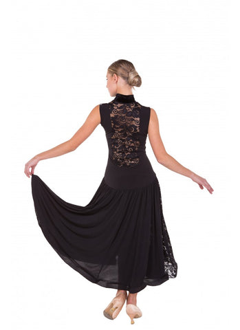 Dance Me Ballroom Dance Dress PS426 is available in Black in sizes 40-M.  Other sizes are available on special order just drop me a line.   An elegant and feminine dress with lace back detail and hemline a little longer at the back perfect for practice, performance, medals or social dancing.