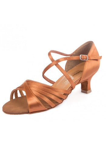 Free Australia-wide shipping  Dance Me Latin Shoes in Cedar Coloured Satin with Cuban Heel for great balance.  Perfect for Latin, Salsa, Street Latin practice, performance and competition.
