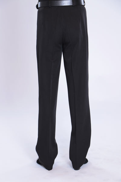 Quality, classic mens dance trousers with pleats (no pockets).  Suitable for standard and latin, these stylish mens dance pants are made with gabardine with stretch for comfort and a professional look and fit.  With stitched creases and a non-slip inner waistband, these pants are a versatile all-rounder.   Made with flowing gabardine with elastane.  94% polyester - 6% elastane.