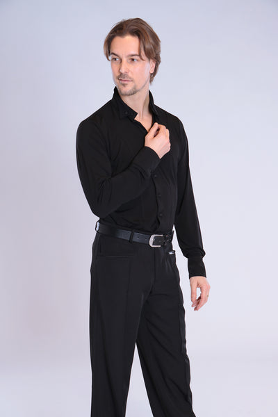 Quality mens dance trousers in jeans style.  Modern interpretation of dance trousers by MALY with stylish shape, high-quality gabardine stretch for comfort and professional look and fit.  Made with flowing gabardine with elastane.  94% polyester - 6% elastane.