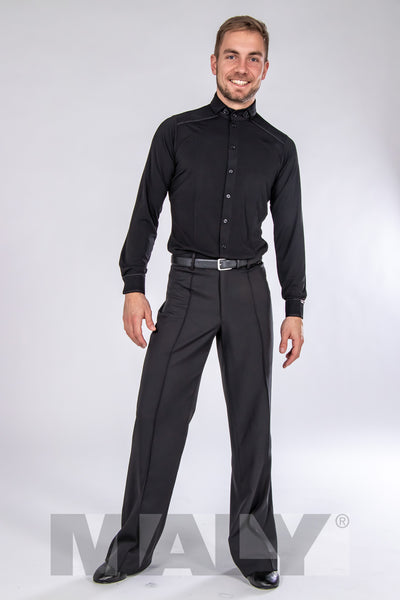 Quality mens dance trousers with belt loops.  Specially made inner waistband with integrated elastic.  These classic, stylish dance pants impress with straight leg design, front crease and professional look and feel.  Made with flowing gabardine with elastane.  94% polyester - 6% elastane.