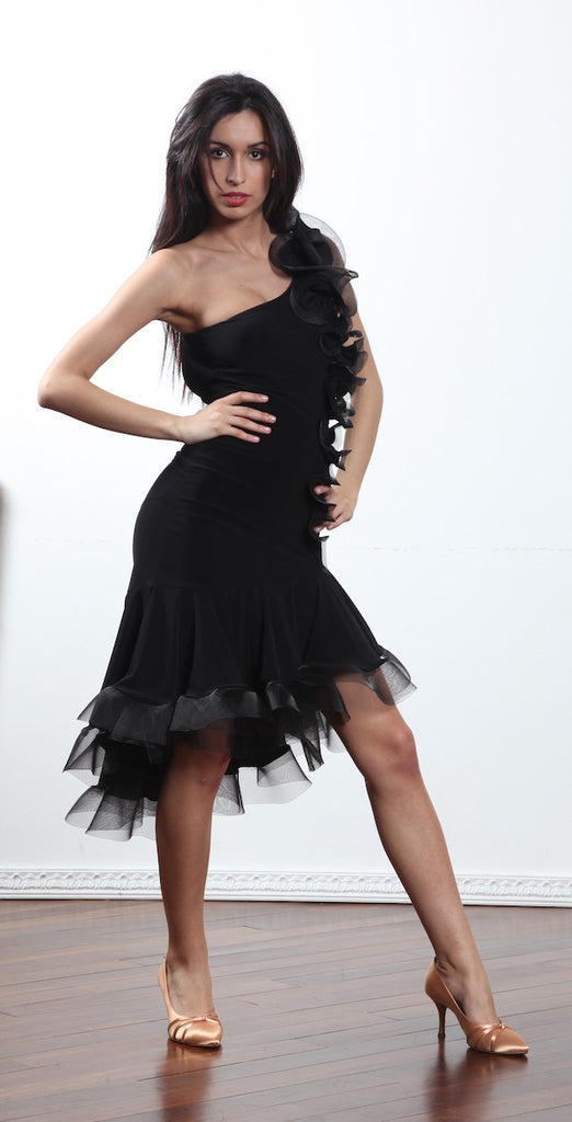 latin dancesport dress with asymmetric hemline, crinoline hem and built-in leotard ON SALE from www.dancewearforyou australia