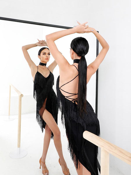 Free Australia-wide Shipping - safe & secure with tracking.  Personal Service.  Complete Zym Dance Style Range Available.  Best Price Guaranteed.  Obsess of this gorgeous fringe dress featuring a deep v back with criss cross straps that lace up and beautiful curved layers of fringe - this dress will totally glam up your dance wardrobe!  Built in bra cups.