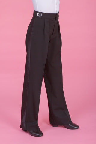 Boys Ballroom Trousers with Box Pleat and Wide Satin Stripe 1074