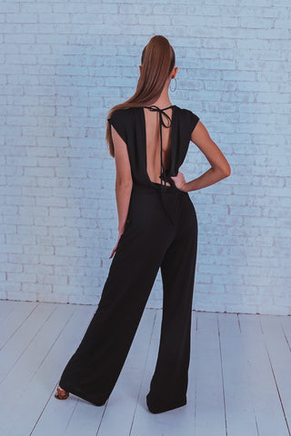 Comfy and versatile Dance Jumpsuit featuring elasticated waist, gorgeous stretch fabric and open back for a sexy latin look!