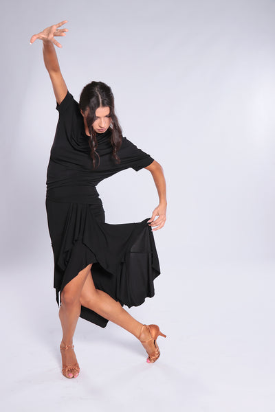 Stylish and elegant, high quality latin skirt for dance practice, social dancing & performance.   Midi dance skirt - calf length with decorative seams and dramatic inserts for tonnes of movement.  Flowing crepe in 3 luxurious colours.  Soft falling fabric with elastane.