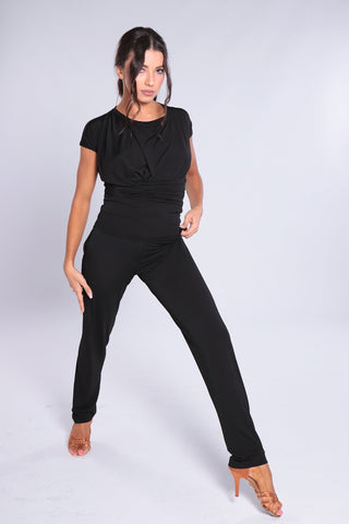 "Stylish and elegant, high quality ladies trousers for dance and day wear made with soft falling jersey crepe with elastane.   These gorgeous, comfy dance pants will be your new ""go-to"" wardrobe item for dance practice, day wear and social dancing.  Narrow leg design with light ruffled waist - pleated waistband detail gives a fashionable look.   Casual style with belt loops and side pockets.  Perfect for all occasions.  94% polyester - 6% spandex."