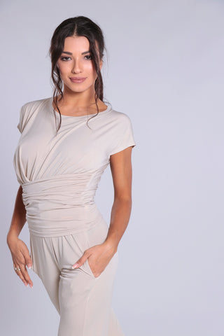 Stylish and elegant, high quality ladies top for dance, evening wear and day wear made with soft falling jersey crepe with elastane.  Perfect for all occasions.  This gorgeous shirt with capped sleeves, wide waistband and draping feature looks amazing paired with any pants or skirt.