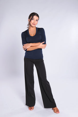 Stylish and elegant, high quality ladies trousers for dance and day wear made with soft falling gabardine fabric.   The high waisted, wide leg, casual style with belt loops can be worn perfectly with any top of body.