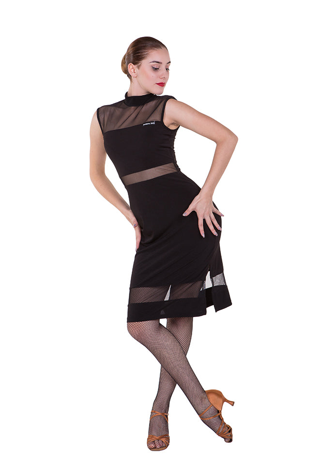 black stretch latin dress with fitted straight skirt and stretch mesh details