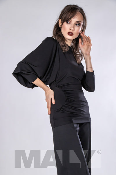 maly design dancewear australia elegant, high quality ladies top for dance, evening wear and day wear made with soft falling jersey crepe with elastane.  Featuring gorgeous bat sleeves, ruching and beautiful waist detailing for a great look!