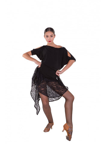 sheer lace full latin skirt with uneven hemline dancewear skirt australia free shipping