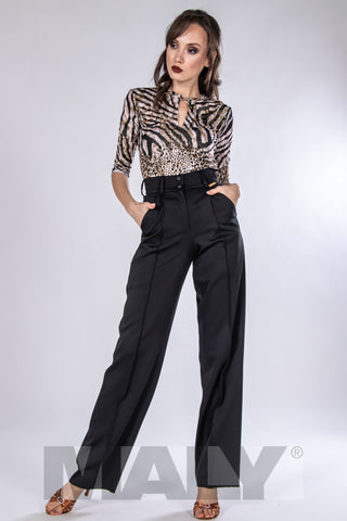 elegant, high quality ladies trousers for dance and day wear made with flowing gabardine with elastane.  Created with stitched crease in the front and pockets for a great look.