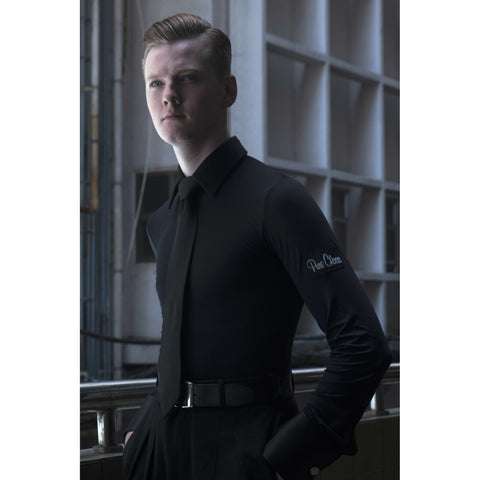 pure class mens stretch ballroom practice shirt with long sleeves and collar from dancewear for you australia