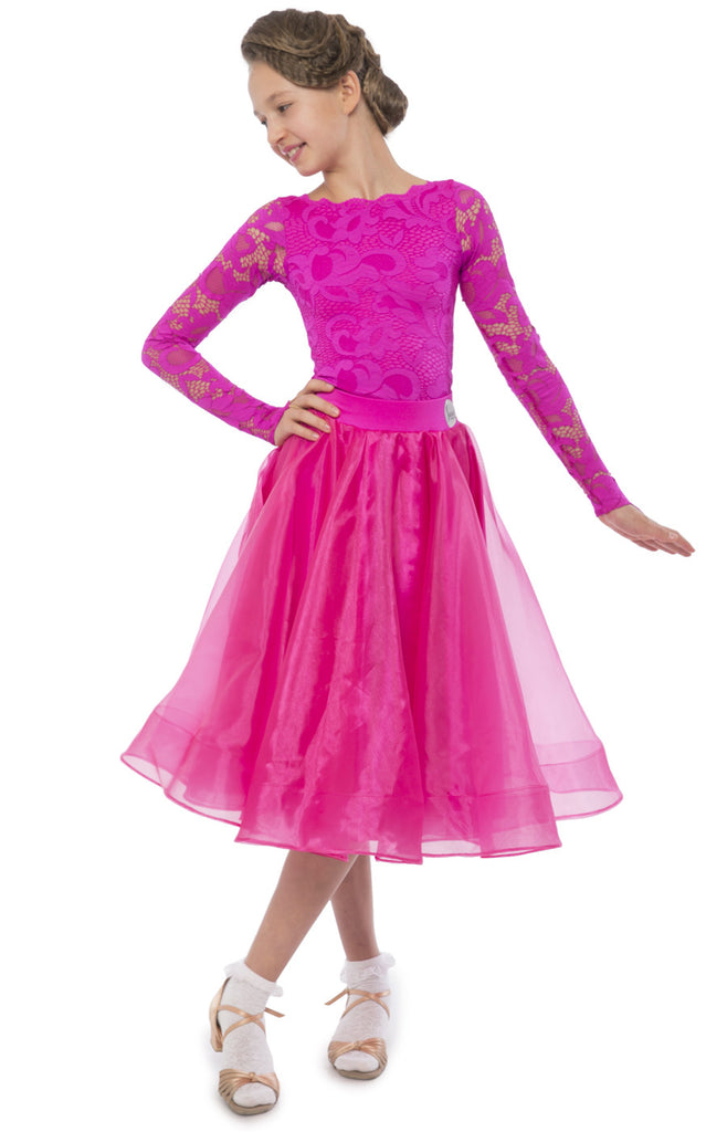 girls juvenile ballroom competition dress with long sleeve lace leotard and skirt with organza and satin with crinoline hem from dancewear for you
