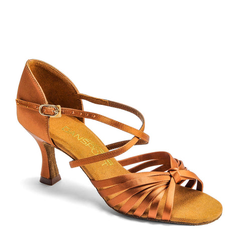 L3006 Ladies Latin Shoe - Tan Satin
