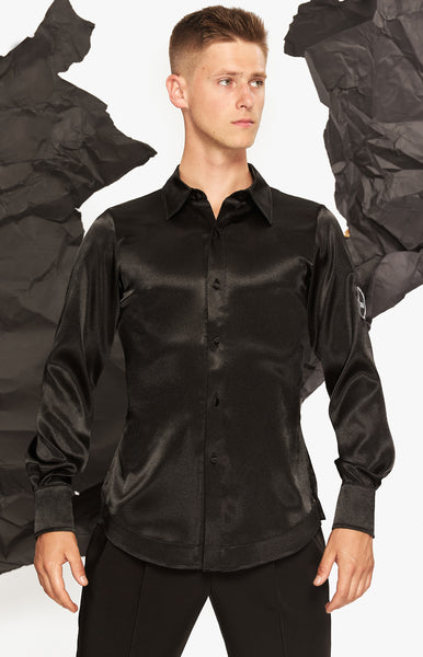 Free Australia-wide Shipping with tracking!  Best price worldwide.  Men's latin shirt, stretch net combined with stretch satin, elegant, simple and yet modern look, perfect for latin competitions, seminars and shows.