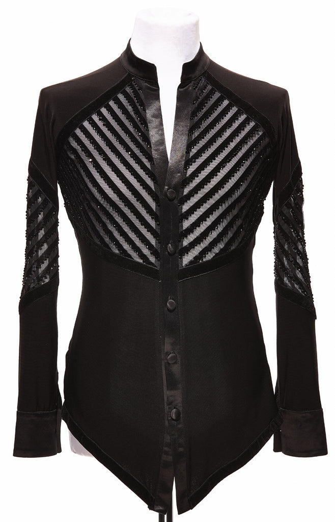 Free Australia-wide Shipping with tracking!  Best price worldwide.  Latin shirt with striped mesh insertions, back, front and arms, each stripe fully decorated with Jet black Swarovski crystals approx.  3200 pcs!  DanceSport ready - great for shows, competition & demonstrations.  Available on order - made to measure.