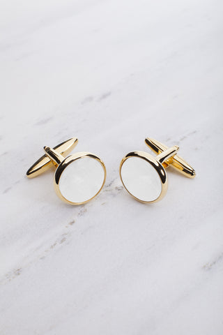 Chrisanne Clover Round Cufflinks in Gold & White