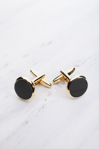 Chrisanne Clover Round Cufflinks in Gold & Black
