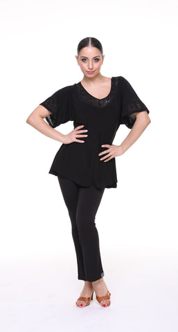 popconatelier ladies flared latin dance top with v neck and v back from dancewear for you australia