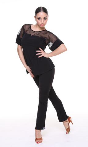 Stylish and versatile ladies longer length, loose-fitting top with mesh sleeves and neckline from dancewear for you australia