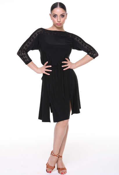 Tasha by Popcon Dance Dress Top TWLT021, long top with 3/4 sleeves and draw string waist from dancewear for you australia