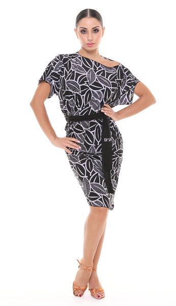 tasha by popcon from dancewear for you australia and nz, latin practice dress with slash neck & asymmetric skirt