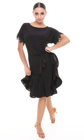 tasha by popcon latin and salsa dress with lace sleeves, tie waist, crinoline hemline, boat neck, fit and flare skirt with bottom ruffles from dancewear for you australia and nz dancewear