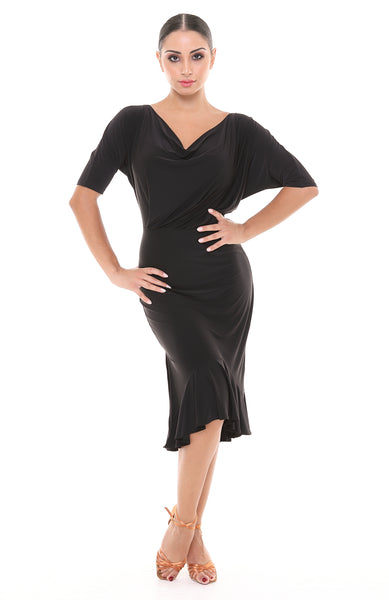 Tasha by Popcon Latin Dance Dress TWL008 with fitted skirt and fitted waist with batwing sleeves to the elbow and bottom ruffles from dancewear for you australia