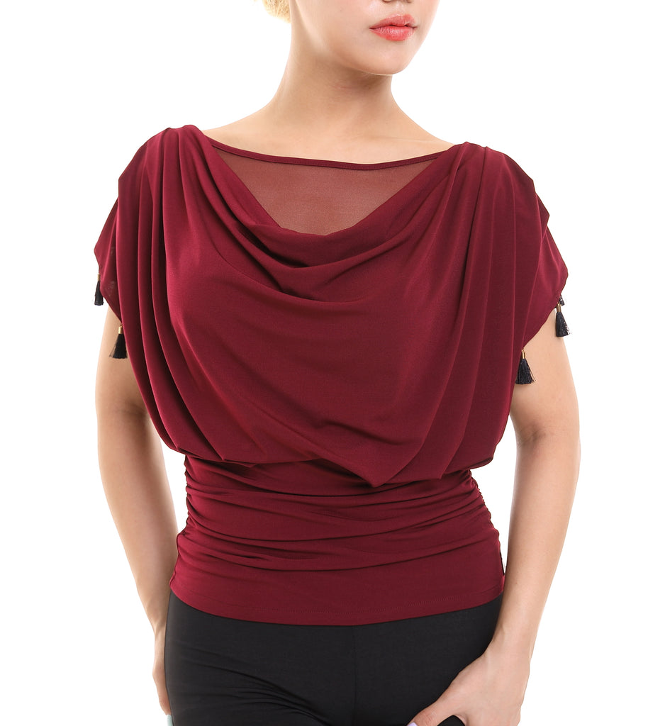PopconAtelier Dance Top with Ruched Waist & Draped Neckline WMT143D from dancewear for you australia and nz dancewear