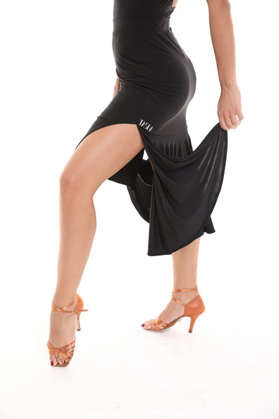 tasha by popcon fitted latin dance skirt with back ruffles / pleats and side splits from dancewear for you australia
