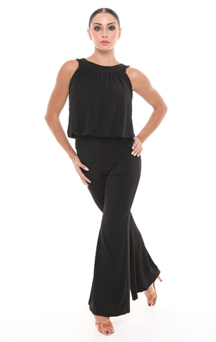 PopconAtelier Black Dance Top WLT088 with round neckline, sleeveless top with fitted waist from dancewear for you australia