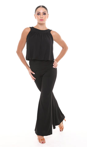 popconatelier ladies wide leg stretch dance pants with ruched waist from dancewear for you australia
