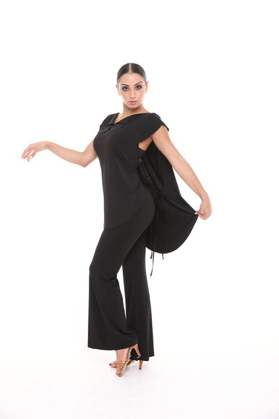 popconatelier long latin dance practice top with cap sleeves and cape design from dancewear for you australia