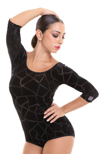 popconatelier dance leotard made with stretch velvet with 3/4 sleeves, scoop back and neckline with free shipping from dancewear for you australia and nz dancewear