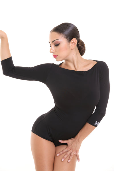 PopconAtelier Slash Neck Fitted Dance Body 012 from dancewear for you australia, ladies black dance leotard with three quarter sleeves