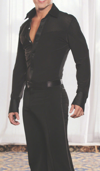 Mens black latin dance shirt with built in pants for dancesport from dancewear for you australia