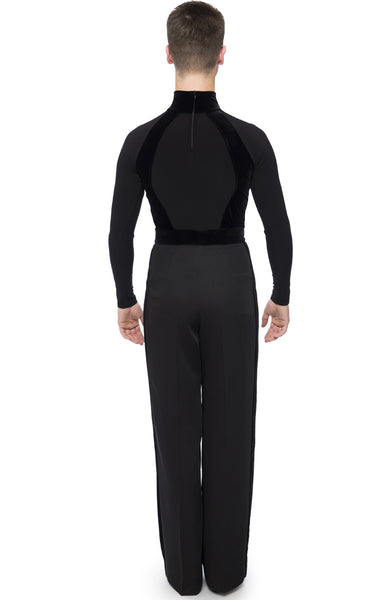 Free Australia-wide Shipping with tracking!  Best price worldwide.  Men's latin body/shirt from black luxury crepe fabric with stretch velvet insertions. High neck, and hidden zipper on the back, built in boxers. Perfect for dancesport competition and shows.