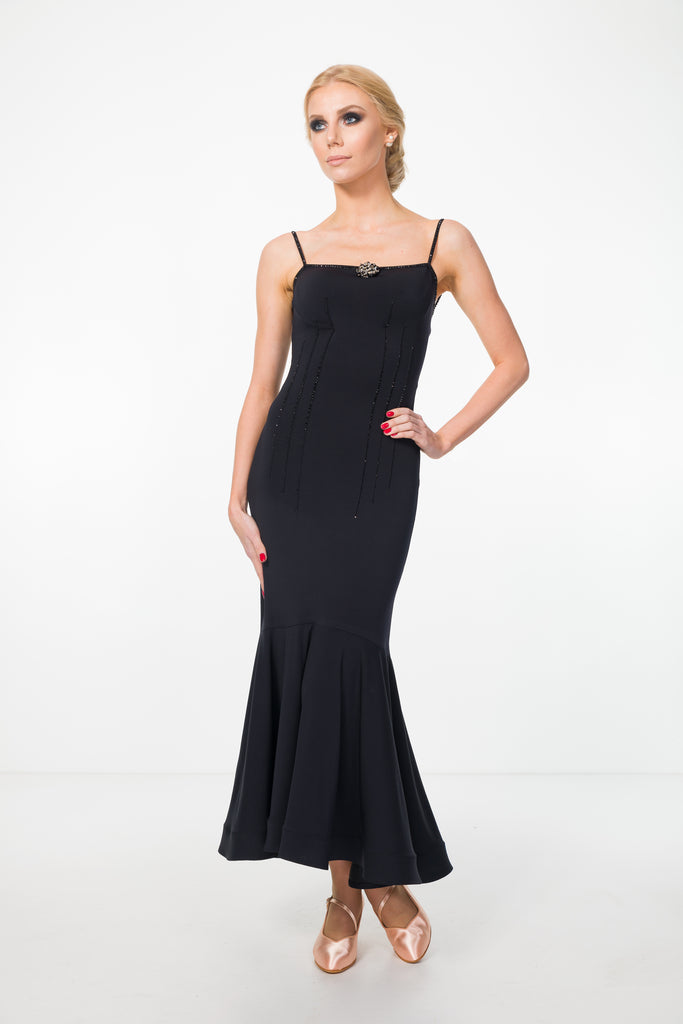ankle length fitted evening dress, formal dress, ballroom dress with thin shoulder straps, low back from EM couture and dancewear for you australia