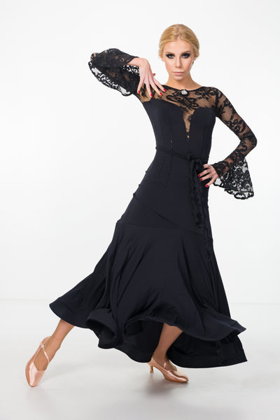black ballroom and evening or formal dress with long fit and flare skirt, long lace sleeves, plunging neckline with lace and low back with feature lace details from dancewear for you australia