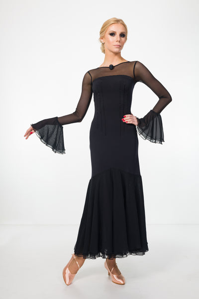 em couture black evening or ballroom dress suitable for formal wear or dance performance and shows with long sheer mesh sleeves, fitted waistline from dancewear for you australia