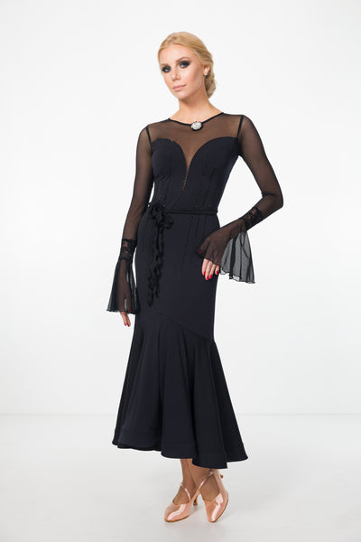 black ballroom and evening or formal dress with long skirt, long sheer sleeves, sheer back with feature lace details from dancewear for you australia