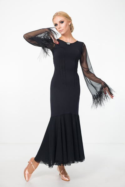 black ballroom and evening or formal dress with long skirt, long sheer sleeves with feather trim, sheer back with feature lace details from dancewear for you australia
