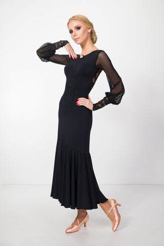 long back ballroom dress, ball dress, formal dress, evening dress with long mesh sleeves with lace details, v back with lace back from EM Couture and dancewear for you australia