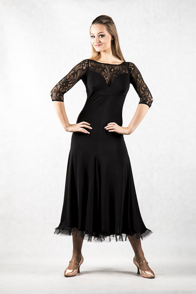 dancebox black ballroom dress with lace back and 3/4 lace sleeves from dancewear for you australia